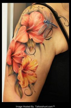 Lily Flower Tattoos | Lily Flowers Tattoos Shoulder Colored 3d lily flowers tattoo