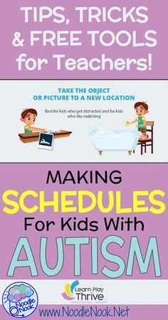 Making Schedules for Kids with Autism with a GREAT infographic. Serious tips, tricks and tools for teachers!
