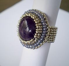 Bead Embroidery  ring  Amethyst Purple Silver Seed beads by Vicus, $15.00