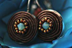 Choclate&blue earrings  #soutache #earrings