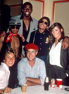 Randy Jackson Magic Johnson Michael Jackson Margot Kidder Tatum O'Neal an Dan Aykroyd 1982