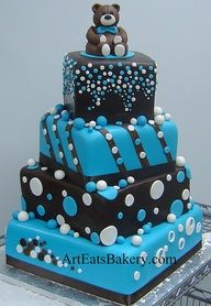 Boy baby shower cake. Like the look, but would need to be smaller. No bear on top