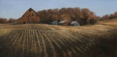 """""""South Facing,"""" by John Dean Acrylic on canvas  """"The old barn at the top of the Hackmann hill didn't survive the developer's schemes. I saw it before it was destroyed with a carpet of the stubble of this season's corn spread before it, Basking in the warm mid-day sun of autumn, the barn held more memories than I can show. Now it will outlast the falling leaves. """""""