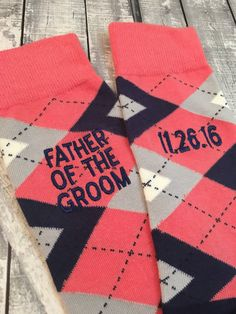 Father of the Bride gift - Groom Socks - Mens Dress Socks - special walk - Wedding Gift - Dad Gift - Father of the Groom socks - Coral Navy JUGoA8