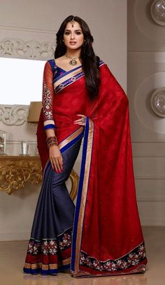 USD 67.27 Red and Purple Silk Resham Work Half N Half Party Wear Saree 37097
