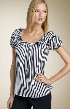 Pink Tartan Puff Sleeve Stripe Top
