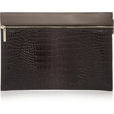 Victoria Beckham Two-tone croc-effect leather clutch ($750) ❤ liked on Polyvore featuring bags, handbags, clutches, real leather handbags, black handbags, black evening purse, black crocodile handbag and black leather purse