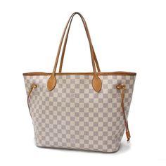 Louis Vuitton  Neverfull MM Damier Azur Shoulder bags White Canvas N51107