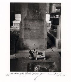 """Jim Morrison's grave 1973  """"Sur les Traces"""" by Patti Smith featured polaroid prints taken by the artist and donated to Trolley to raise awareness and funds for the publication of Double Blind, a book on the war in Lebanon in 2006, with photographs by Magnum photographer Paolo Pellegrin."""
