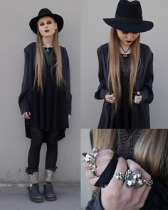 Mona&Linda Pedersen - Bikbok Shirt, Ash Footwear Boots, Laird Hatters Hat, Urban Outfitters Necklace, Crazy Pig Designs Big Skull Ring, The Great Frog Small Skull Ring - We belong on the Black Pearl