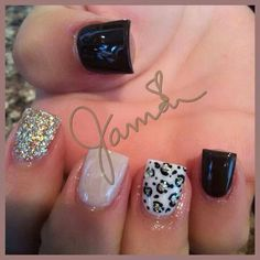 White silver black glitter nails. Cheetah print. Leopard print. Animal print nails. Cute. Love these!! One of my favs. Had these done already! Easy nails. Simple nails. Edgy nails. Bold nails.