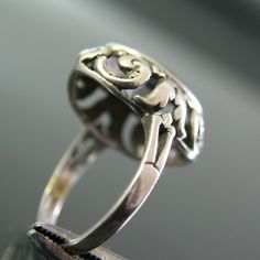 Jugendstil ring. 835 silver and amethyst. View 5.