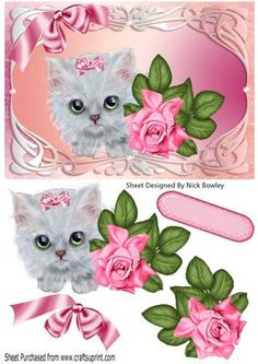 Cute kitten with pink bow and rose in ornate frame on Craftsuprint - Add To Basket!