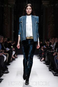 #havetohave Bondi blue velvet leggins & leather jacket by Belmain RTW F/W 2012