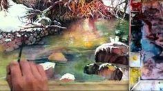 Watercolor with Lian Quan Zhen: Snow Harmony, via YouTube.
