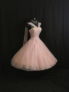 RESERVED Vintage 1950's 50s Bombshell Baby PINK Ruched Chiffon Organza Applique Rhinestones Daisies Party Prom Wedding Dress Gown