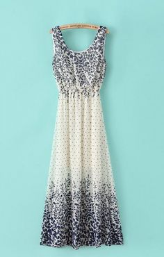 Gorgeous Chiffon Maxi Dress - with tiny leaves printing.