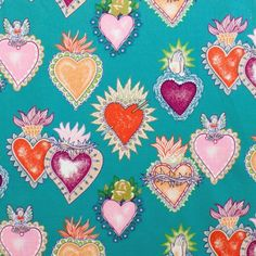 Alexander Henry Gothic Alma y Corazon Tattoo Style Soul & Hearts on Green Cotton Fabric - FQ Wallpaper Backgrounds, Iphone Wallpaper, Wallpapers, Gothic Tattoo, Mexican Designs, My Funny Valentine, Mexican Folk Art, Heart Art, Sacred Heart