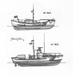 Comparative drawings of USCG 36 ft. and 44 ft. The TRS-type 36 ft. MLB was the last wooden USCG lifeboat and one of the longest in production - Coast Guard Boats, Us Coast Guard, Boat Props, Military Diorama, Boat Design, Small Boats, Oregon Coast, Boat Building, Model Ships