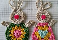 Crochet Bunny Applique Free Patterns: Easy and Quick Easter Bunny / Rabbit Applique and Motifs crochet pattern most free for Easter crochet decoration Easter Egg Crafts, Bunny Crafts, Easter Decor, Easter Ideas, Easter Bunny, Easter Eggs, Easter Crochet Patterns, Crochet Bunny Pattern, Crochet Decoration
