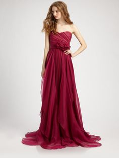 Notte By Marchesa Silk Chiffon Strapless Empire Waist Gown in Red (raspberry) | Lyst