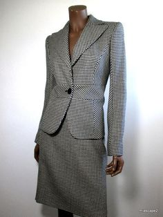 VALENTINO Jacket Skirt Suit - Black White Virgin Wool - Houndstooth ITALY S 42/6 #Valentino #BasicJacket