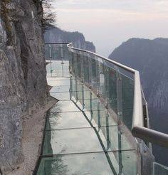 The Glass Walkway    Built of the side of a cliff 4,700ft above sea level on Tianmen Mountain  in Zhangjiajie, China.