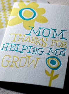 Mothers Day Grow Letterpress Greeting Card. Bamboo paper, patterned envelope, sun and flowers. C4A32T.. $4.00, via Etsy.
