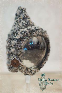 Newborn Bonnet Grey Gray -Crochet Baby Hat- Crochet pixie Bonnet- Baby Boy Bonnet- Baby Bonnet- Photo Prop Hat