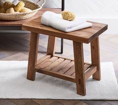 Keep a fresh towel handy or have a seat during your daily routine with our Rustic Bath Stool. From the sourcing of salvaged wood to manufacturing in a Fair Trade Certified™ factory, this bath stool is mindfully made. Rustic Stools, Modern Stools, Farmhouse Stools, Ikea, Pottery Barn, Bath Stool, Bathroom Stools, Bathroom Bench, Bathtub Shelf