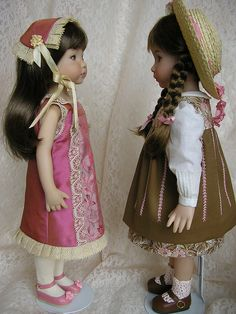 """These are not 18"""" dolls, nor American Girl, but this sweet duo was just too wonderful not to pin! I wish we could see these same beautiful outfits someday for the AG cuties. """"City-Country Cousins"""" one in silk, the other in cottons by Tomi Jane, via Flickr"""