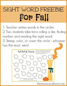 """Fall Theme Sight Word """"Roll Stamp"""" (free from The Measured Mom) Learning Sight Words, Sight Word Games, Sight Word Activities, Phonics Activities, First Grade Reading, Kids Reading, Teaching Reading, Letters For Kids, Speech And Language"""