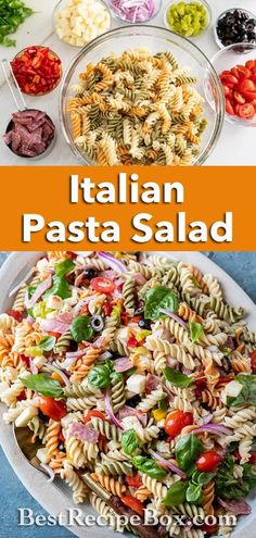 Our Italian Pasta Salad recipe is really easy and quick to make at home. It's a refreshing salad for the Summer. Pasta Salad Recipes, Healthy Salad Recipes, Healthy Food, Kitchen Recipes, Cooking Recipes, Pasta Salad Italian, Side Salad, Everyday Food, Steak Salad