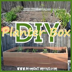 Mom On Timeout: DIY Garden Planter Box. I need to grow at least one vegetable anywhere we might be living, box=possible (we rent:)) Garden Planter Boxes, Diy Planters, Fall Planters, Outdoor Planters, Outdoor Projects, Garden Projects, House Projects, Outdoor Ideas, Diy Garden
