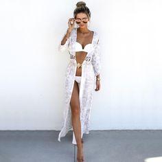 White Bikini, Long Open Dress Cover and Big Round Shades! Bikinis, Swimsuits, Swimwear, Sabo Skirt, Summer Suits, Spring Summer Fashion, Style Summer, Beachwear, Cool Outfits