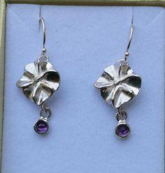 Amethyst Silver Earrings Sterling Silver Dangle by TalyaDesign