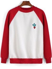 Colour-block Cactus Print Sweatshirt