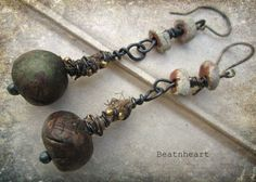 Etsy Transaction - Me and a grey bird. polymer beads forest greens springtime dangle earrings assemblage boho rustic hippie Beatnhearts earrings featuring greybirdstudio beads