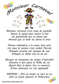 Paroles d'une chanson sur le thème du carnaval : Monsieur Carnaval