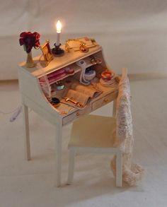 Miniature Woman's Desk by UNIQUE MINIATURES; in 1:12 scale.