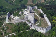Aerial shot of Cachtice castle, now in complete ruins