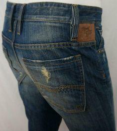 Rivet De Cru Sergeant Slim Straight Jeans Distressed Button Fly Med Wash 32 X 30 Hollister Mens, Denim Trends, Button Fly Jeans, Men's Clothing, Blue Denim, Slim, Fashion, Moda
