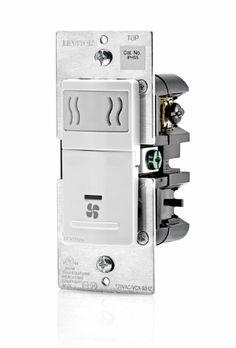 Leviton IPHS5-1LW Humidity Sensor and Fan Control, Single Pole, White
