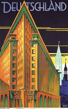Stunning Original 1930s Art Deco Travel Poster Germany
