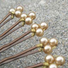 Gold Pearl bobby pins