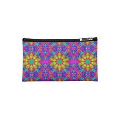 #Pink #Turquoise and Yellow Retro Pattern #Makeup #Bag $39.35