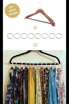Finally, this idea we found on Pinterest is going into my closet tomorrow… Hanger and shower rings from the dollar shop… DIY scarf hanger!