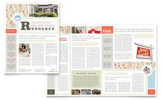 Real Estate Home for Sale Newsletter Template Design (I like the front cover. Would need more white space.)