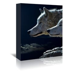 """East Urban Home Fantasy Animal Wolf Wolves Photographic Print on Wrapped Canvas Size: 30"""" H x 24"""" W x 1.5"""" D"""
