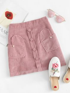 Corduroy Pearl Beaded Zip Up Back SkirtFor Women-romwe Dresses Kids Girl, Kids Outfits, Cute Skirts, Short Skirts, Red Skirts, Sewing For Kids, Sewing Clothes, Kind Mode, Kids Wear